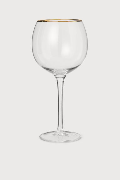Glass with gold-coloured rim - Clear glass - Home All | H&M GB