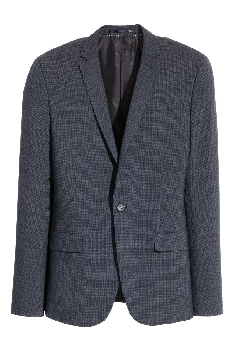 Jacket Skinny fit - Dark blue/Small checked - Men | H&M