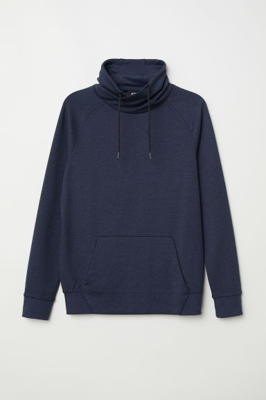 Funnel-collar sweatshirt - Dark blue marl - Men | H&M
