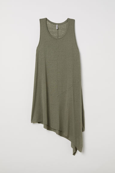 Asymmetric jersey dress - Dark khaki green -  | H&M