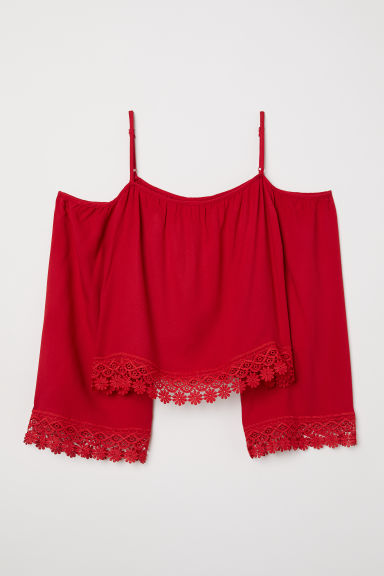 Off-the-shoulder blouse - Red - Ladies | H&M CN