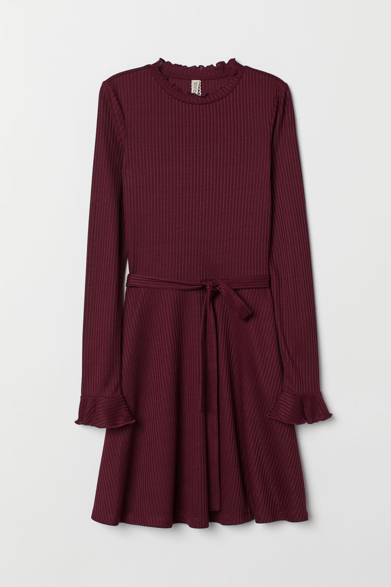 Abito in jersey a costine - Bordeaux -  | H&M IT