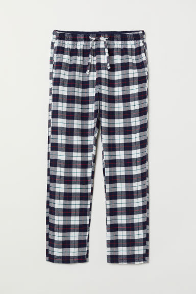 Flannel pyjama bottoms - White/Dark blue checked - Men | H&M