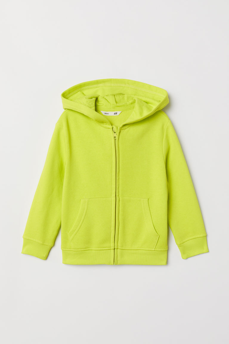 Hooded jacket - Neon yellow - Kids | H&M CN
