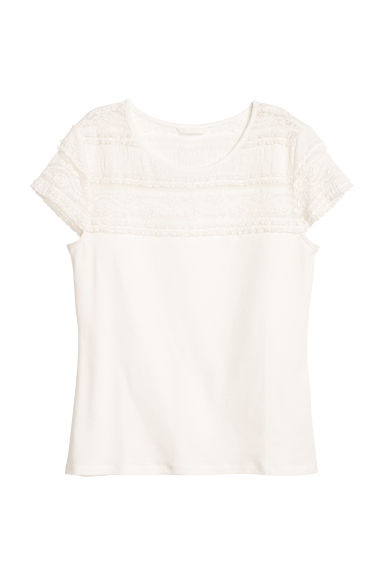 Lace top - White - Ladies | H&M