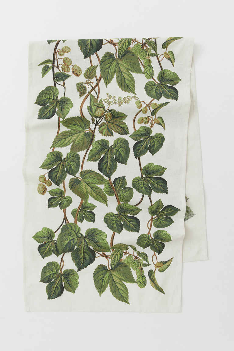 Cotton-blend table runner - Natural white/Leaf-patterned - Home All | H&M CN