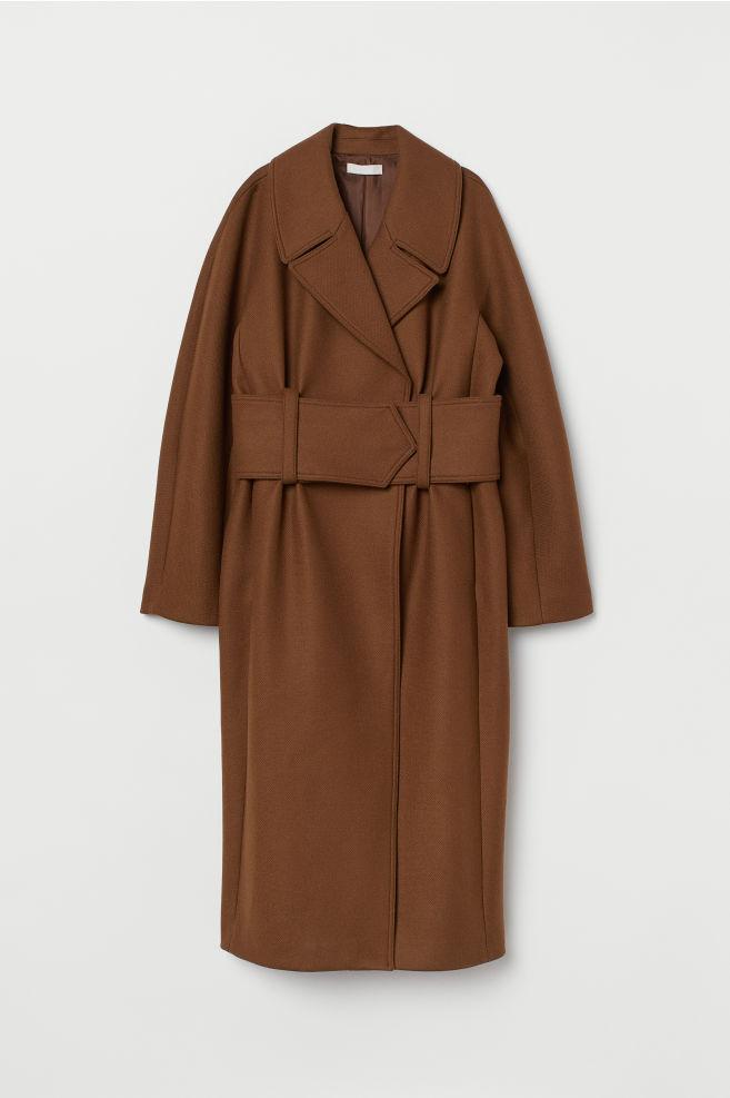7bfc5d9660e Manteau long en laine mélangée - Camel - FEMME