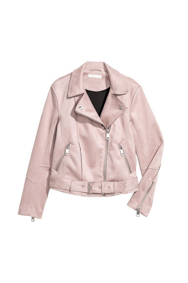 Imitation suede biker jacket - Light pink -  | H&M