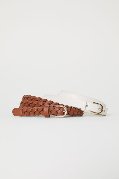 2-pack narrow belts - White/Brown - Ladies | H&M