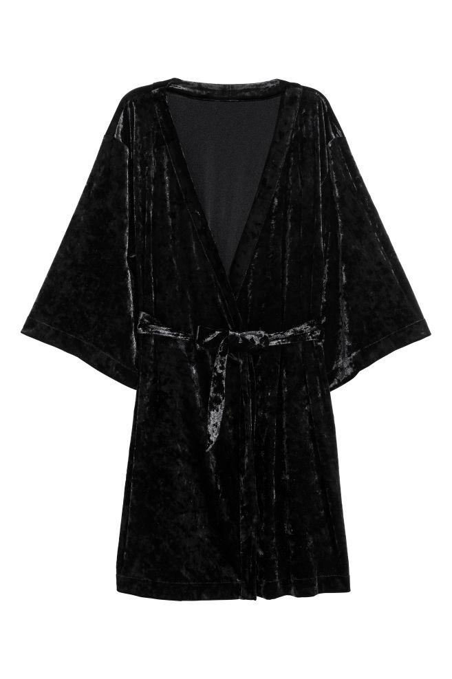 e33ce16e Kimono i nervøs fløyel - Sort - DAME | H&M ...