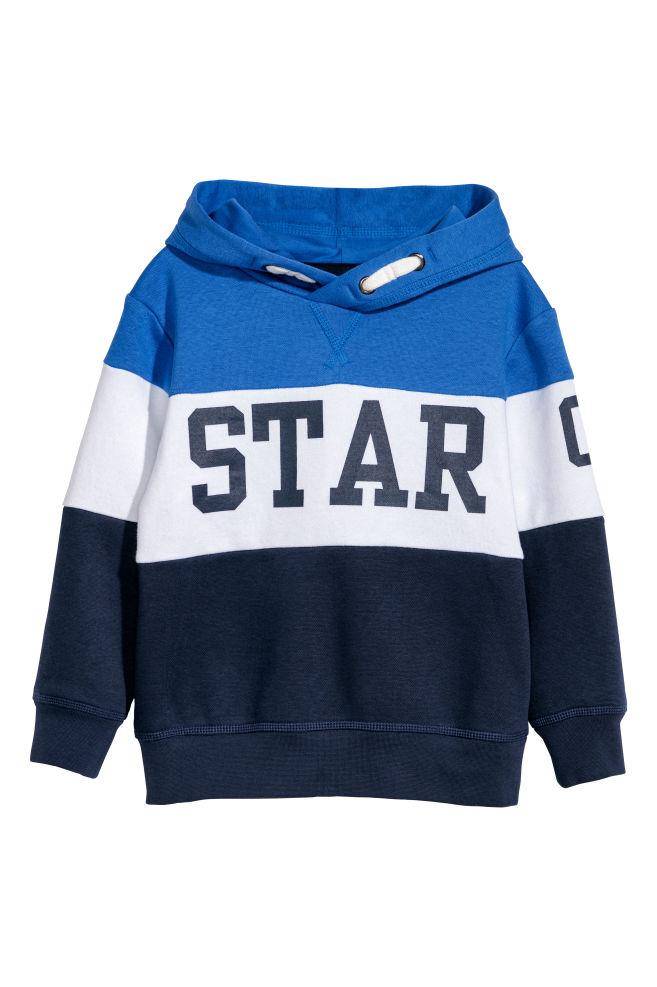 d57831bf716 Mikina s kapucí a s potiskem - Modrá barevné bloky - DĚTI