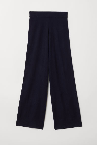 Wide cashmere trousers - Dark blue - Ladies | H&M