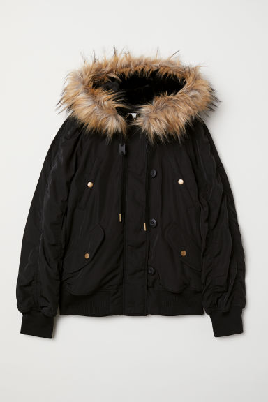 Faux fur-trimmed padded jacket - Black - Ladies | H&M