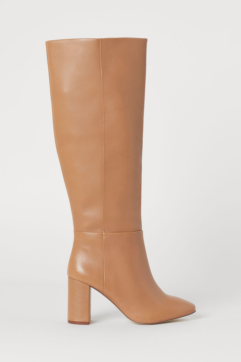 Knee-high leather boots - Beige - Ladies | H&M