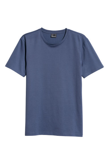 Premium cotton T-shirt - Dark blue -  | H&M