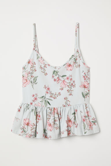 Flounced strappy top - Light blue/Floral -  | H&M CN