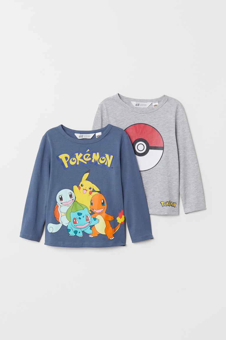 2-pack jersey tops - Grey marl/Pokémon - Kids | H&M