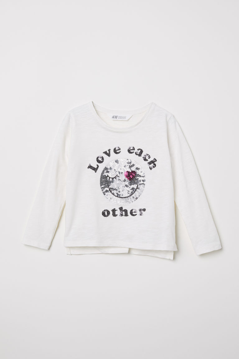 Appliquéd top - Natural white/Love Each Other - Kids | H&M
