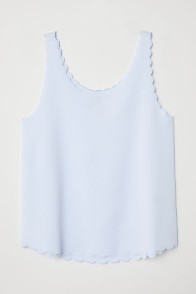 Scallop-edged vest top - Light blue - Ladies | H&M