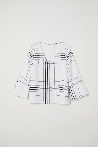 V-neck blouse - White/Patterned -  | H&M CN