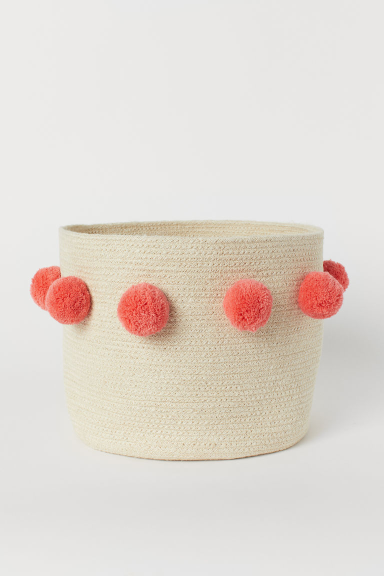 Storage basket with pompoms - Beige/Coral - Home All | H&M GB