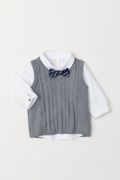 Shirt and slipover - White/Grey - Kids | H&M CN