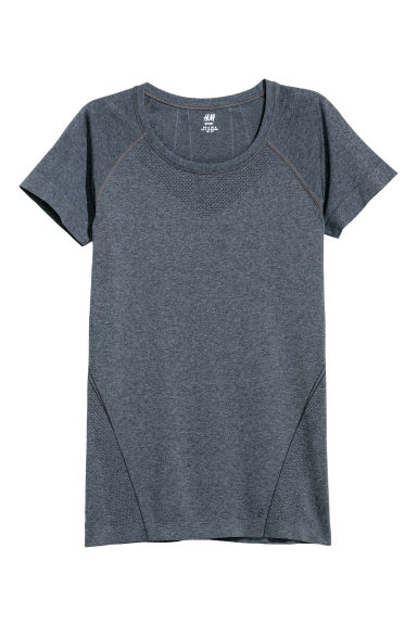 Seamless sports top - Dark blue marl -  | H&M