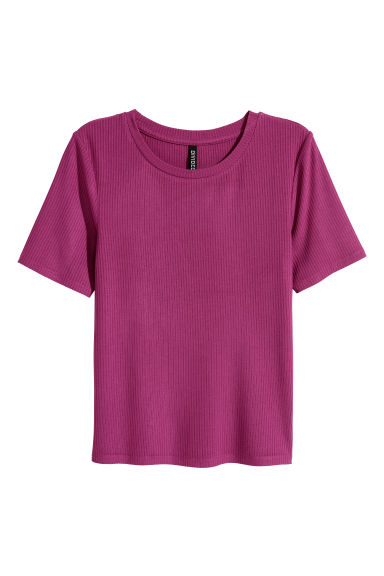 Ribbed top - Magenta -  | H&M
