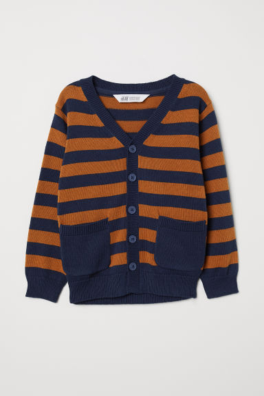 Fine-knit cardigan - Dark blue/Brown striped - Kids | H&M