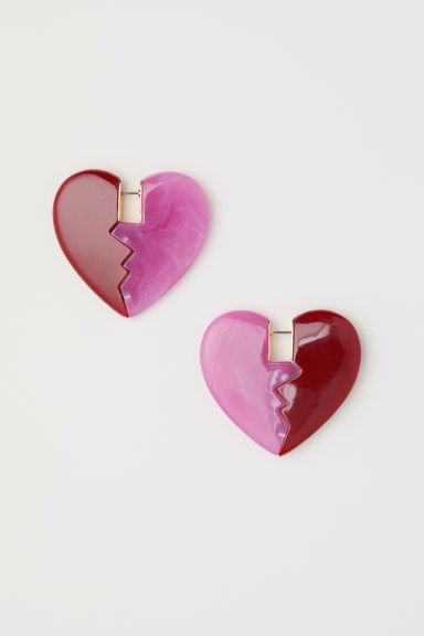 Heart-shaped earrings - Red/Pink marl -  | H&M
