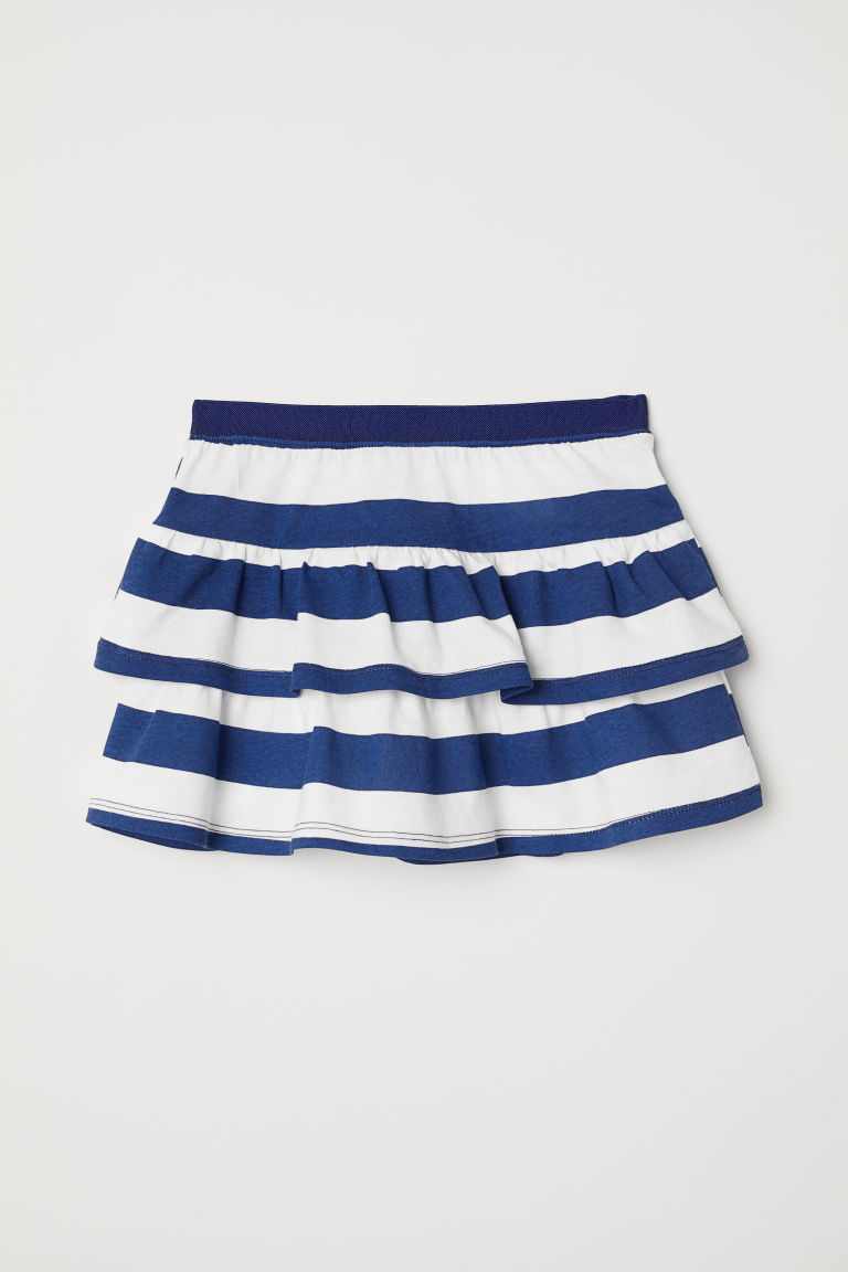 Flounced skirt - White/Striped -  | H&M CN