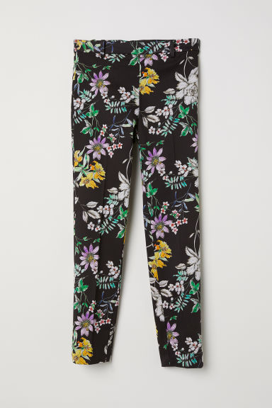Cigarette trousers - Black/Floral - Ladies | H&M CN