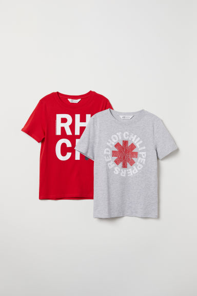 Tricouri cu imprimeu, 2 bucăți - Gri/Red Hot Chili Peppers - COPII | H&M RO