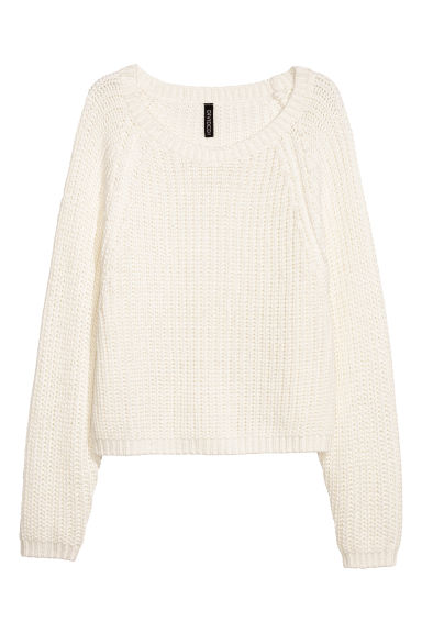 Rib-knit jumper - White - Ladies | H&M