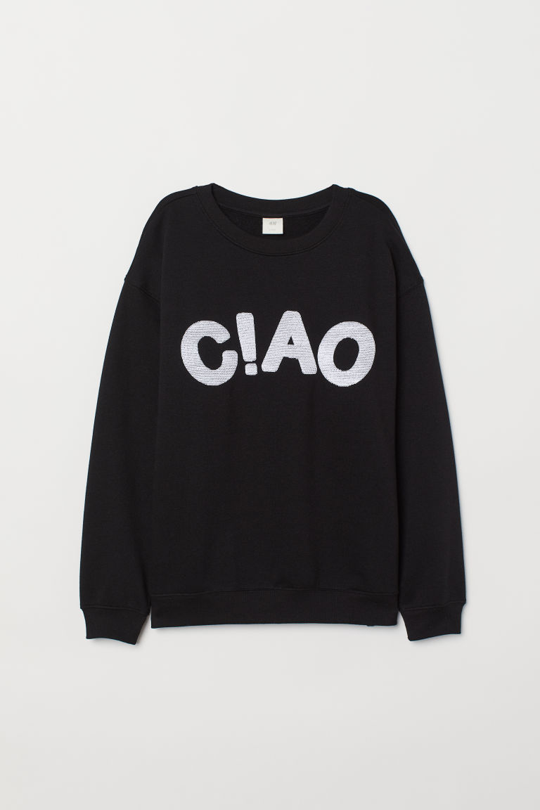 Sweatshirt with a motif - Black/C!AO - Ladies | H&M CN
