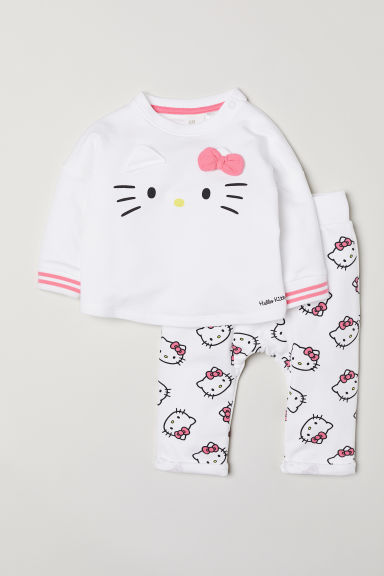 Sweatshirt and trousers - White/Hello Kitty - Kids | H&M CN