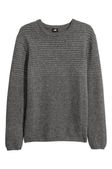 Textured-knit jumper - Grey marl -  | H&M