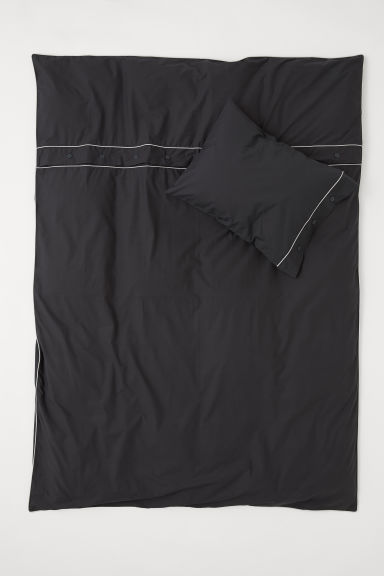 Duvet cover set with buttons - Anthracite grey - Home All | H&M CN