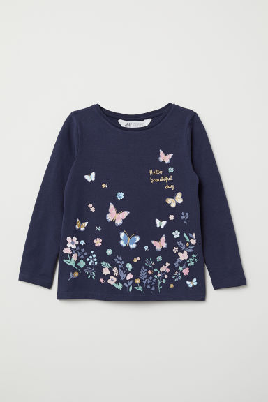 Printed jersey top - Dark blue/Hello - Kids | H&M GB