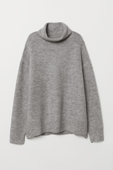 Knitted polo-neck jumper - Grey marl -  | H&M