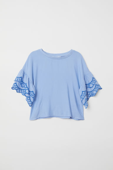 Blouse with flounced sleeves - Light blue -  | H&M CN