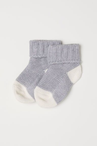 Textured-knit socks - Light grey - Kids | H&M CN