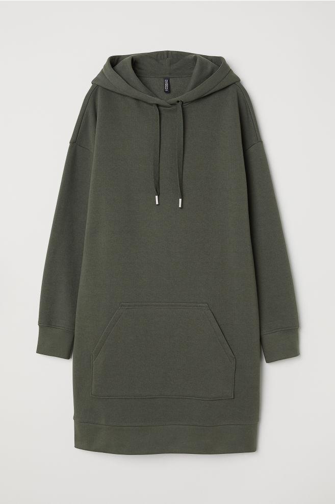 5884279f4 Hooded Sweatshirt Dress - Dark green -   H&M ...