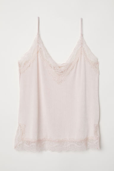Top con pizzo spalline sottili - Rosa cipria - DONNA | H&M IT