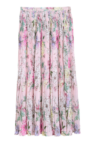 Pleated skirt - Light pink/Floral - Ladies | H&M