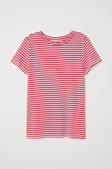 T-shirt - Red/White striped -  | H&M CN