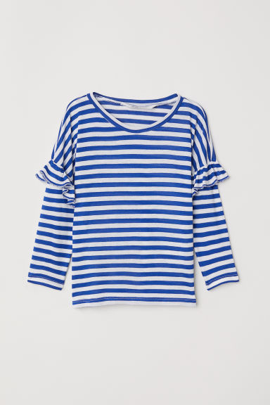 Top with flounces - Blue/White striped - Kids | H&M CN