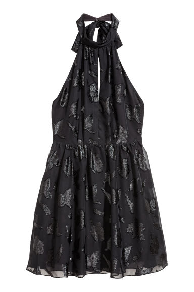 Chiffon halterneck dress - Black -  | H&M
