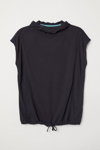 Hooded sports top - Dark grey - Ladies | H&M CN