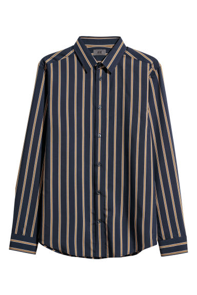 Striped shirt Slim fit - Dark blue/Striped -  | H&M GB